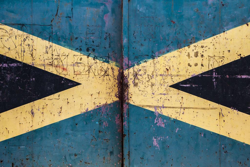 Jamaican Flag on gate, 2013